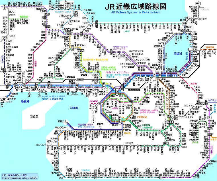 JR西日本の近畿広域図です。